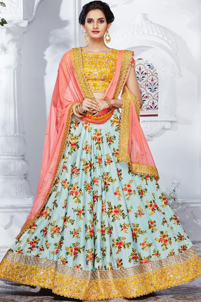 Indi Fashion Mustard Yellow and Sky Blue Handloom Silk Satin Wedding Lehenga Set