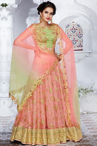 Indi Fashion Liril Green and Soft Peach Net Wedding Lehenga Set