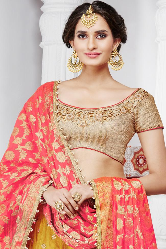 Indi Fashion Beige Mustard Yellow and Red Handloom Silk Wedding Lehenga Set