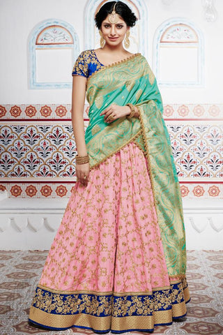 Indi Fashion Royal Blue Baby Pink and Green Handloom Silk Wedding Lehenga Set