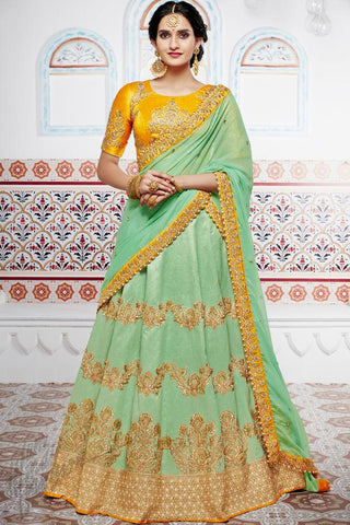 Indi Fashion Mustard yellow and Green Handloom Silk Wedding Lehenga Set
