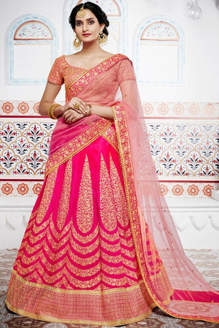 Indi Fashion Pink and Peach Handloom Silk Wedding Lehenga Set