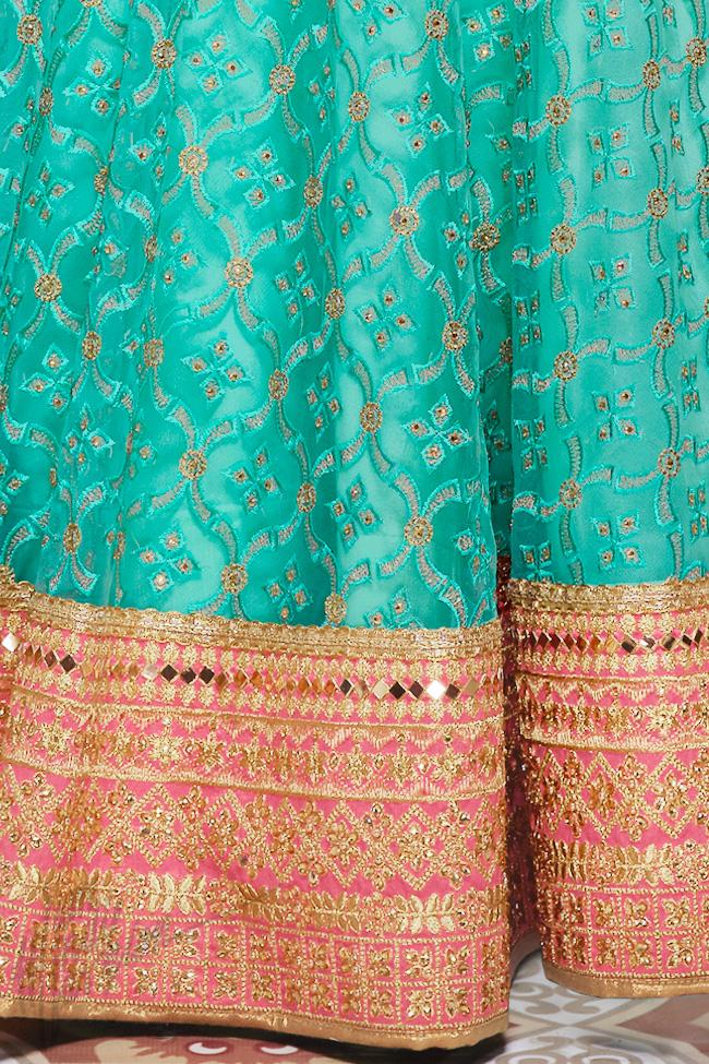 Indi Fashion Rama Green and Peach Net Wedding Lehenga Set