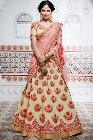 Indi Fashion Beige and Peach Handloom Silk Wedding Lehenga Set