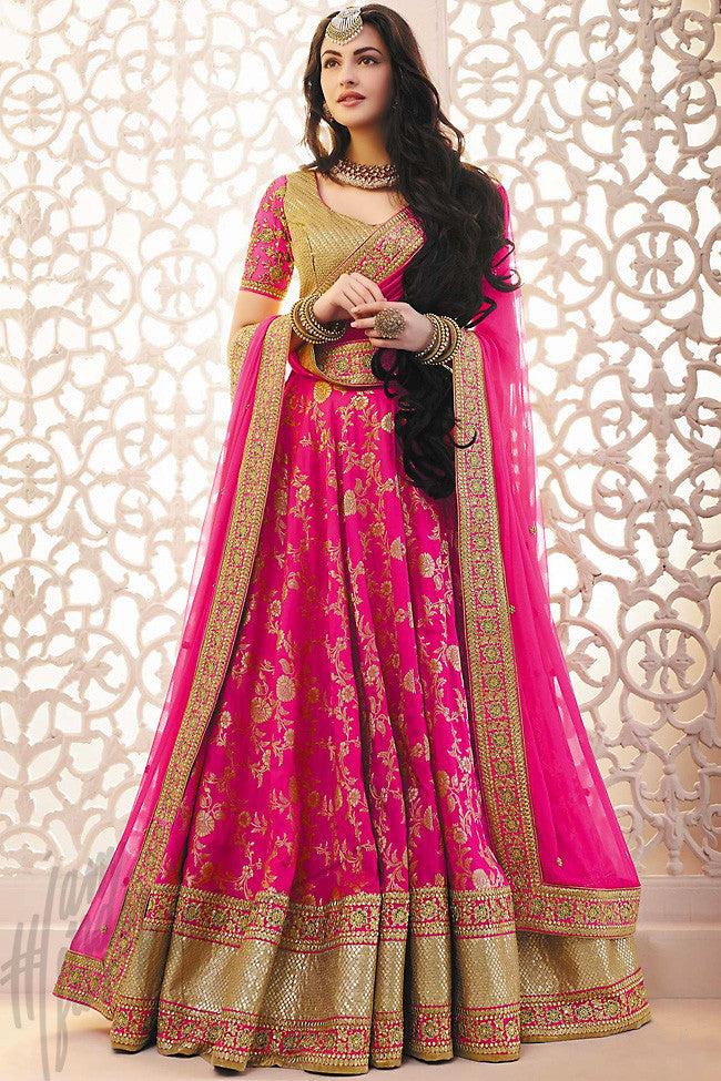 Buy Rani Pink And Gold Brocade Wedding Lehenga Set Online At Indi Fashion It makes your skin look radiant, and the shade almost lit up the face. rani pink and gold brocade wedding lehenga set