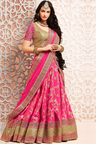Indi Fashion Rani Pink and Gold Brocade Wedding Lehenga Set