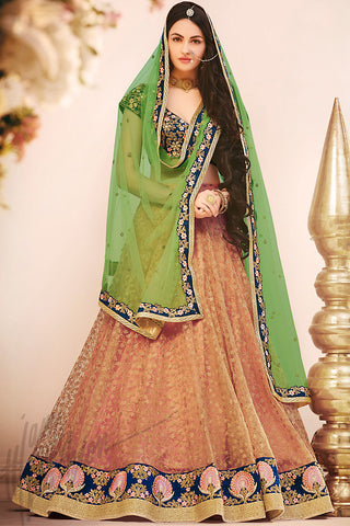 Indi Fashion Light Green Peach and Navy Blue Net Wedding Lehenga Set