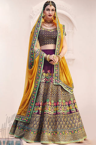 Indi Fashion Wine and Mustard Silk Wedding Lehenga Set