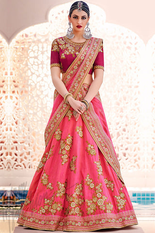 Indi Fashion Rani Pink and Peach Silk Wedding Lehenga Set