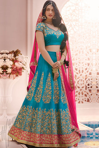 Indi Fashion Blue and Rani Pink Silk Wedding Lehenga Set