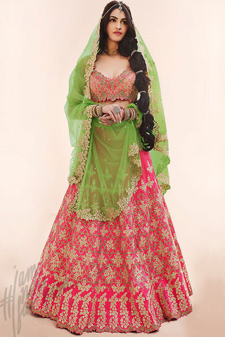 Indi Fashion Rani Pink and Liril Green Silk Wedding Lehenga Set