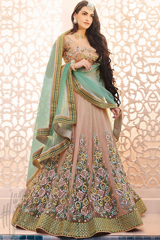 Indi Fashion Light Green and Nude Net Wedding Lehenga Set