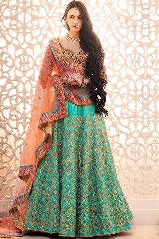 Indi Fashion Rama Green Peach and Mustard Handloom Silk Wedding Lehenga Set