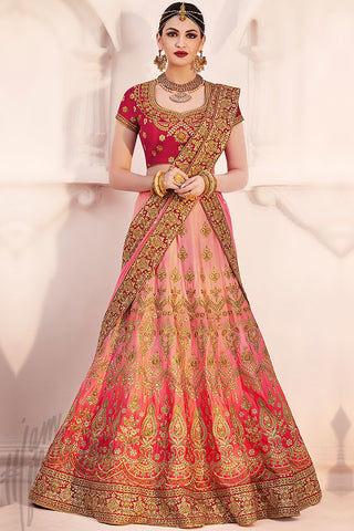 Indi Fashion Peach and Pink Net Wedding Lehenga Set