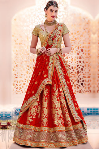 Indi Fashion Red and Gold Brocade Wedding Lehenga Set