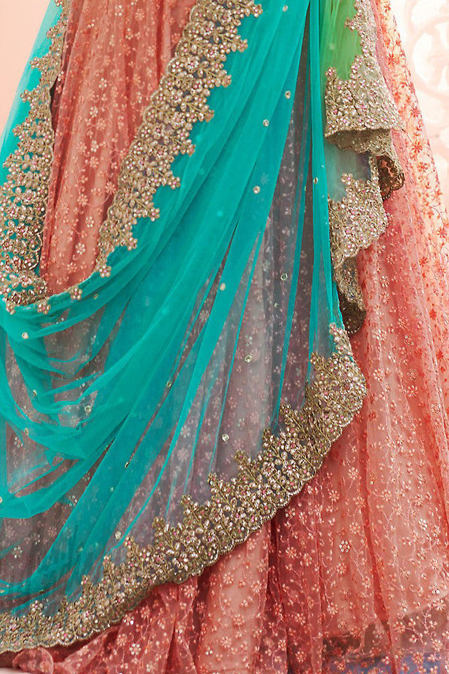 Indi Fashion Pink Satin Handloom Silk Wedding Lehenga Set