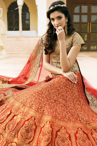 Indi Fashion Red and Coffee Satin Silk Wedding Lehenga Set
