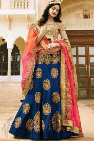 Indi Fashion Royal Blue and Beige Satin Silk Wedding Lehenga Set