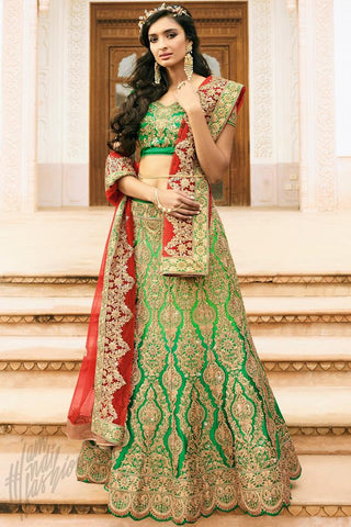 Indi Fashion Green and Red Satin Silk Wedding Lehenga Set