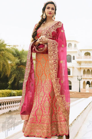 Indi Fashion Orange and Pink Satin Silk Wedding Lehenga Set