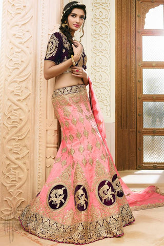 Indi Fashion Wine and Baby Pink Satin Silk Wedding Lehenga Set