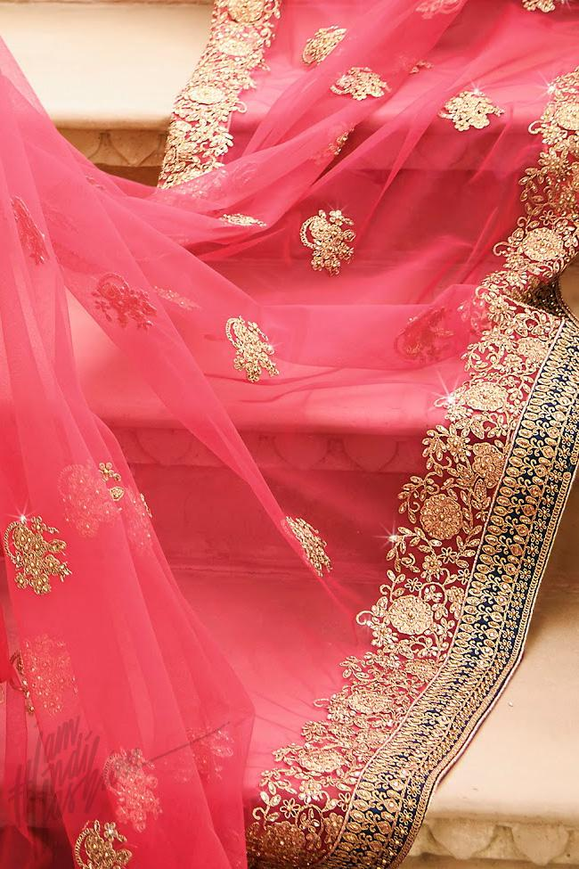 Indi Fashion Navy Blue and Pink Satin Silk Wedding Lehenga Set