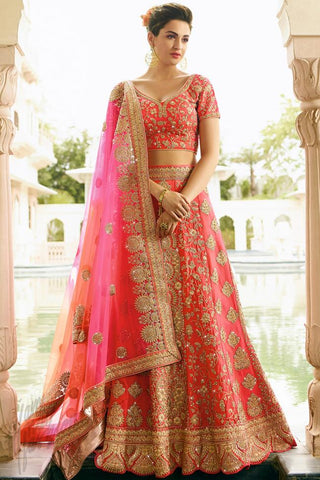 Indi Fashion Red and Magenta Satin Silk Wedding Lehenga Set