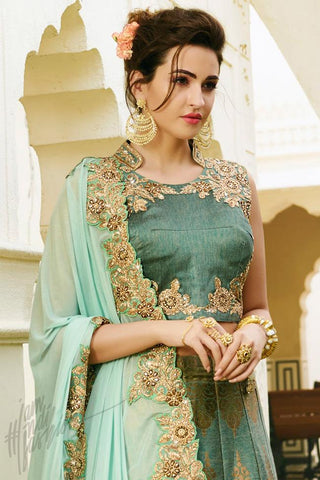 Indi Fashion Forest Green and Sky Blue Satin Silk Wedding Lehenga Set