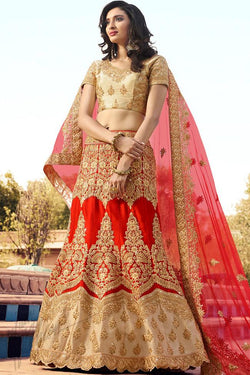 Indi Fashion Red and Beige Art Silk Wedding Lehenga Choli Set