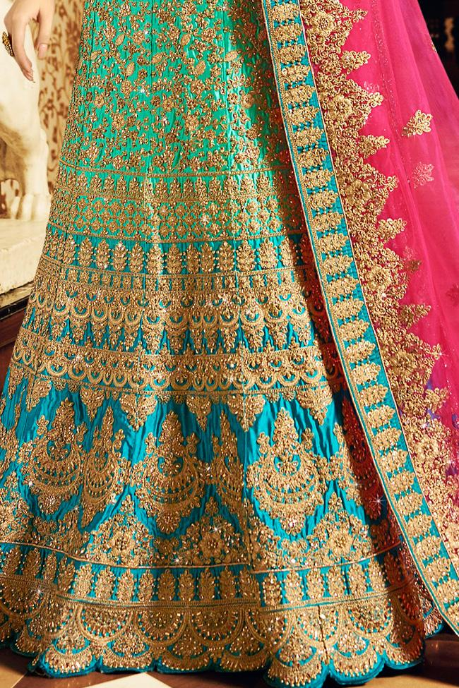 Indi Fashion Turquoise Sea Green and Hot Pink Art Silk Wedding Lehenga Choli Set