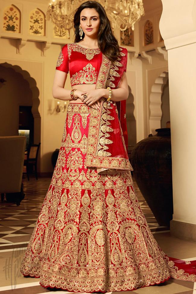 Indi Fashion Crimson Red and Maroon Art Silk Wedding Lehenga Choli Set