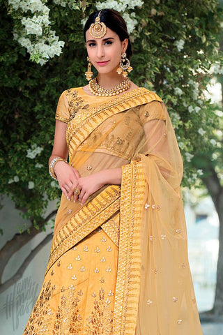 Indi Fashion Dull Yellow Ombre Pure Heritage Silk Lehenga Set