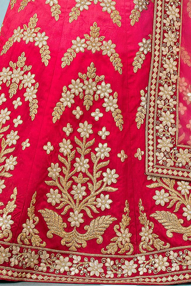Indi Fashion Red and Pink Ombre Pure Heritage Silk Lehenga Set