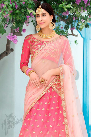 Indi Fashion Pink Ombre Pure Heritage Silk Lehenga Set