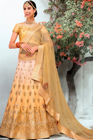Indi Fashion Beige Ombre Pure Heritage Silk Lehenga Set