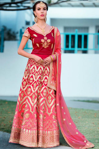 Indi Fashion Maroon and Magenta Ombre Pure Heritage Silk Lehenga Set
