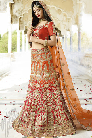 Indi Fashion Red and Orange Satin Silk Wedding lehenga Set