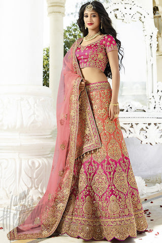 Indi Fashion Magenta and Pink Satin Silk Wedding lehenga Set