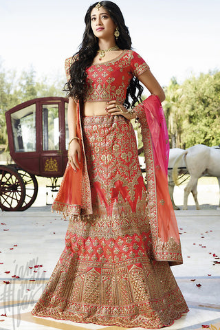 Indi Fashion Red Magenta and Orange Shaded Satin Silk Wedding lehenga Set