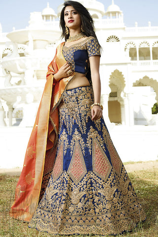 Indi Fashion Navy Blue and Orange Dupion Silk Wedding lehenga Set