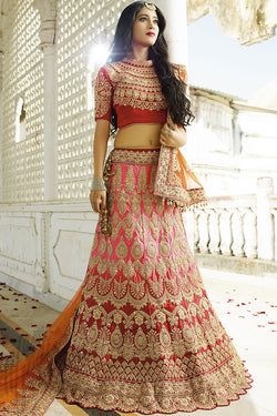Indi Fashion Red and Pink Shaded Satin Silk Wedding lehenga Set