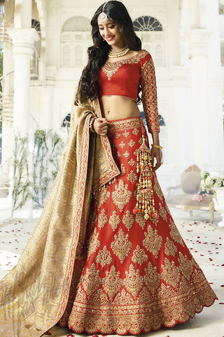 Indi Fashion Red and Beige Satin Silk Wedding lehenga Set