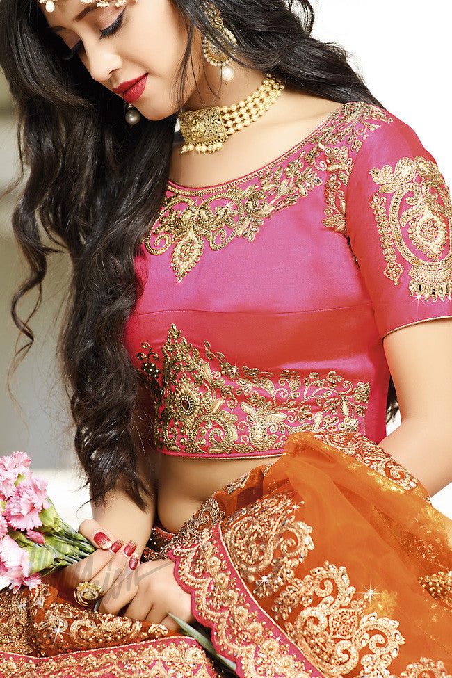 Indi Fashion Pink and Orange Shaded Satin Silk Wedding lehenga Set