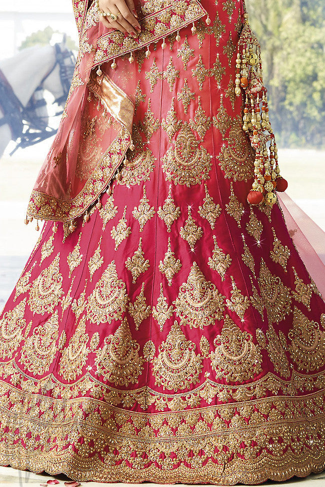 Indi Fashion Magenta and Pink Shaded Satin Silk Wedding lehenga Set