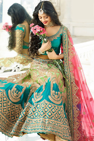 Indi Fashion Pink and Shaded Green Satin Silk Wedding lehenga Set