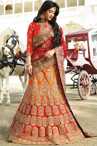 Indi Fashion Maroon Red and Orange Shaded Satin Silk Wedding lehenga Set