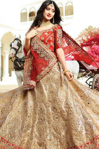 Indi Fashion Red Beige and Maroon Satin Silk Wedding lehenga Set