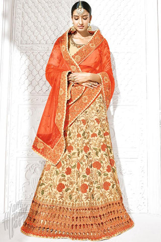 Buy Beige and Orange Bangalori Silk Lehenga Set Online at indi.fashion