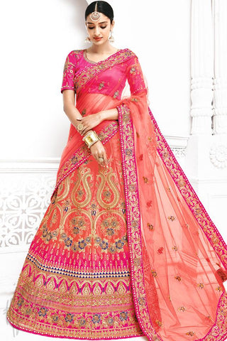 Indi Fashion Magenta and Red Dual Tone Bangalori Silk Lehenga Set