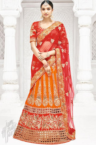 Indi Fashion Red and Orange Dual Tone Bangalori Silk Lehenga Set